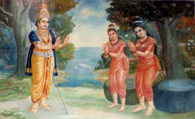 Lord Murugan promises to Sundaravalli and Amirtavalli that in their next life they will both marry him